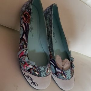 Ed Hardy twisty bow panther flats